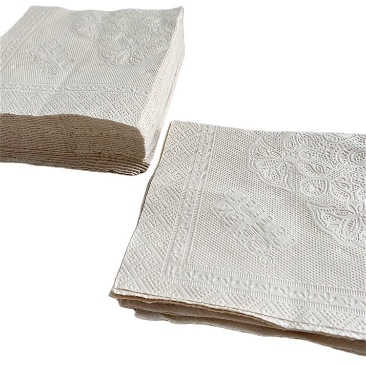 Bamboo Pulp [ Paper Napkins ] Tissue Paper Factory OULU Paper 2 Ply Factory Price Embossed Unbleached Cheap Paper Dinner Napkins