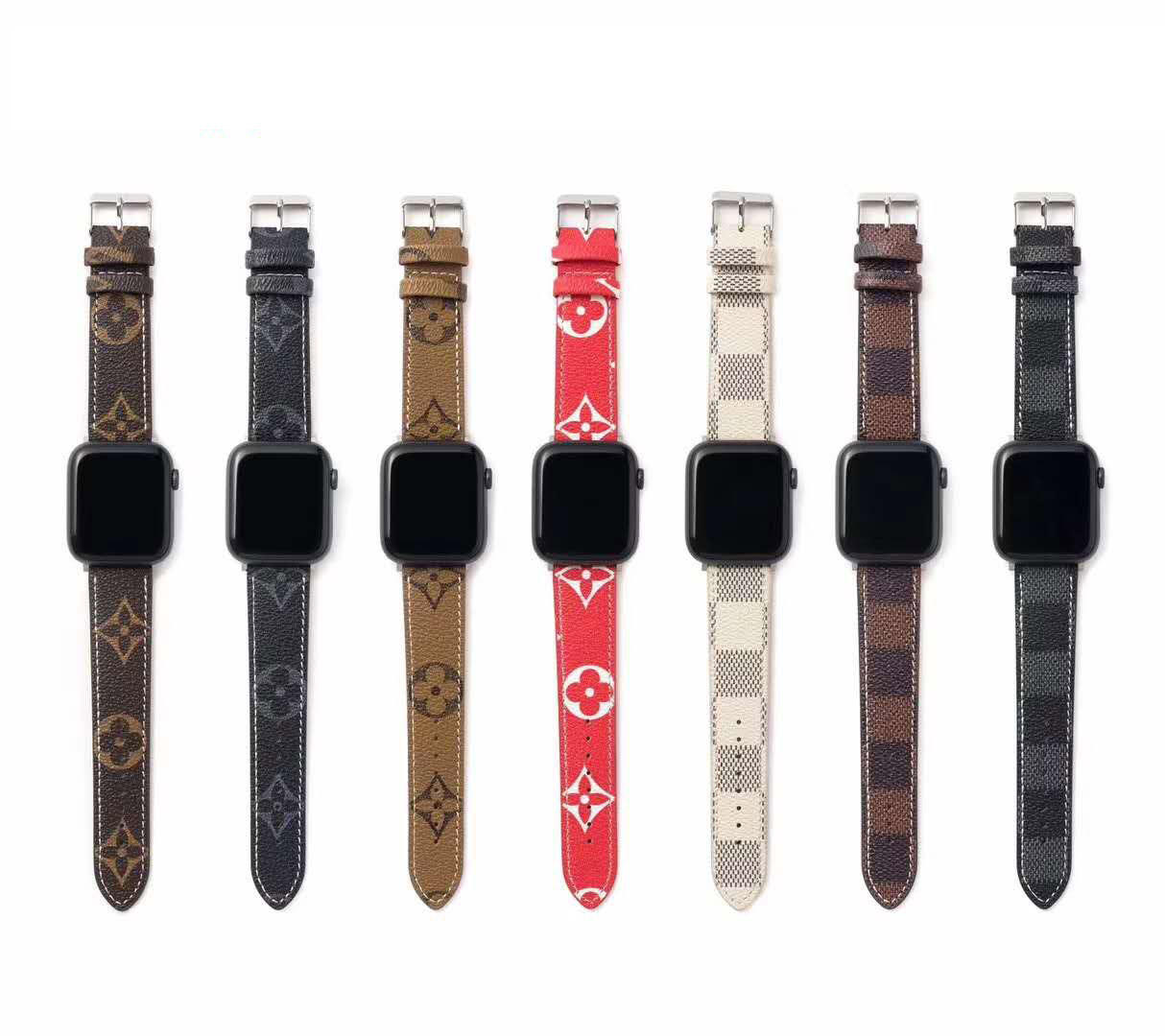 Luxury vintage brand watch band for Apple watch pu leather 38 40 42 44mm bee snake flower cat Band leather for iwatch band