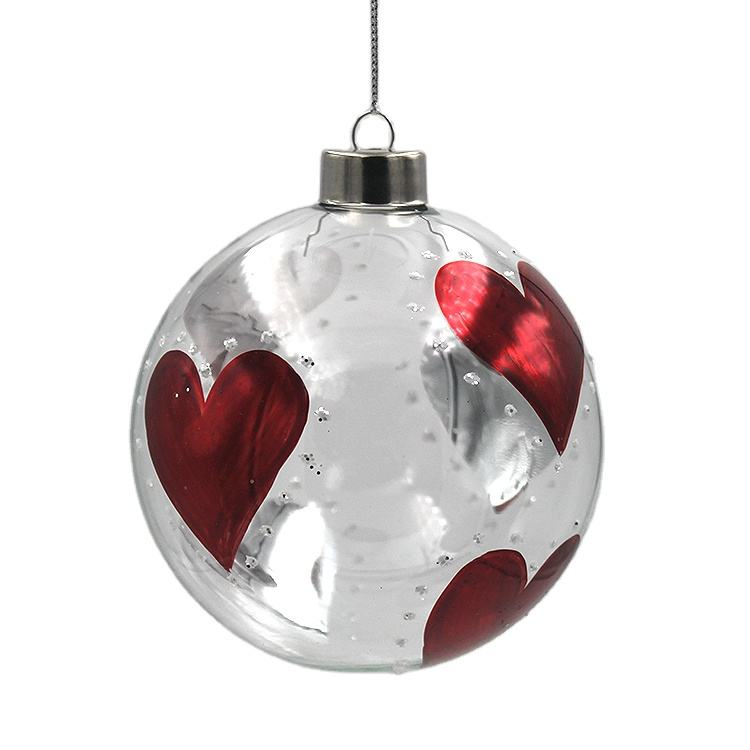 Factory Wholesale Xmas Tree Decorative Hanging Ornaments 100 Clear Glass Christmas Ball Ornaments Hand decorated Red heart