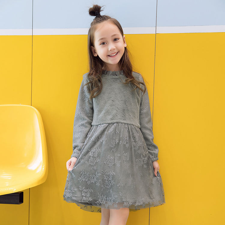 Wholesale Autumn Winter 100% Polyester Gray Long Sleeves Girls Floral Lace Dress