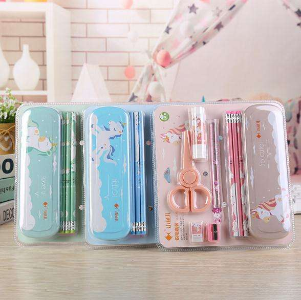 student supplies 8pcs pencil eraser and so on stationery set