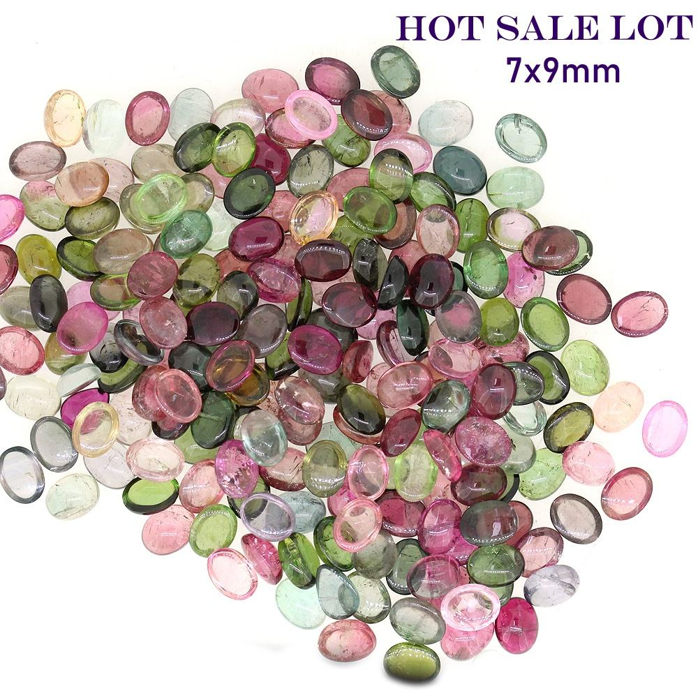 AAA natural multi tourmaline 7x9mm oval cabochons loose gemstones lot bulk suppliers