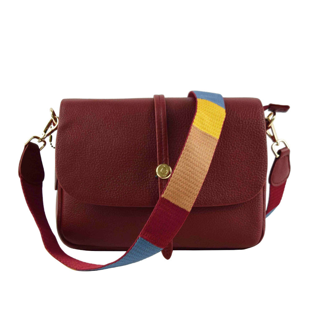 New style leather crossbody bag women sling bag crossbody with colorful nylon strap