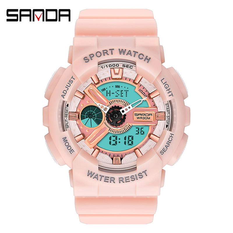 SANDA Woman Sports Digital Watch Cherry Blossom Pink Woman Military Sports Watches Ladies Waterproof Casual G Style Shock Clock
