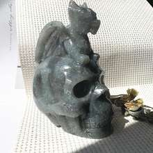Folk Crafts Natural Crystal Quartz Feng Shui Decoration Labradorite Skull With Small Flying Dragon For Healing