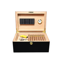 Square Wooden Cabinet Humidor Cigar Box For 75 CT Cigars Custom Logo
