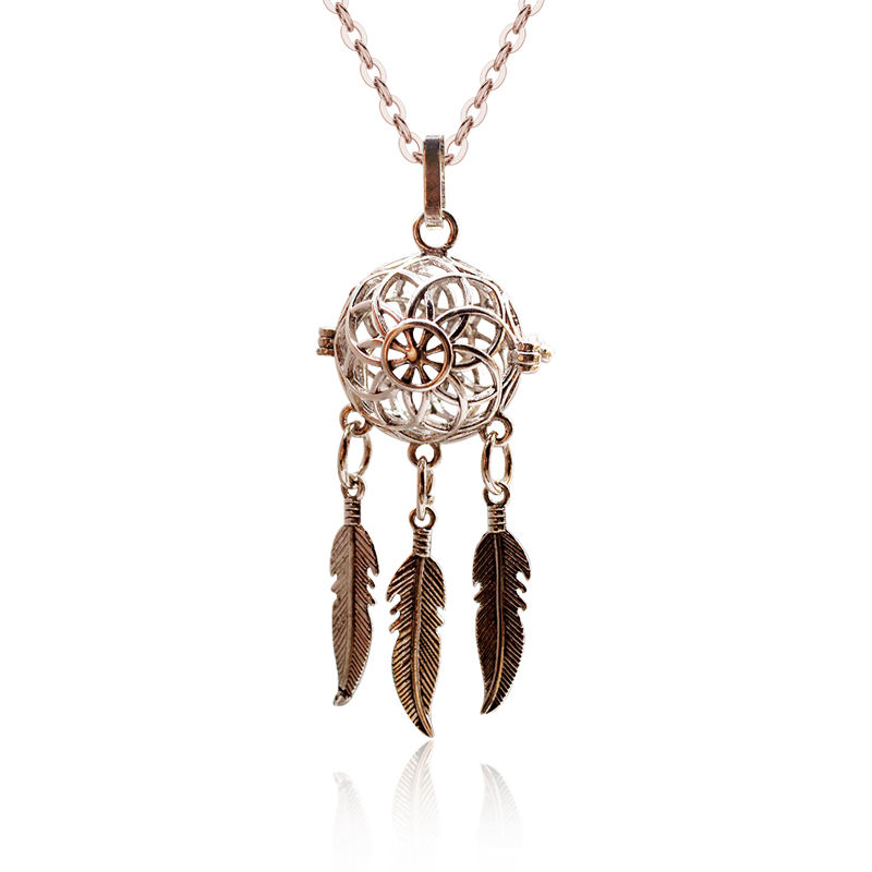 Fashion pure copper hollow cage feather aromatherapy pendant necklace