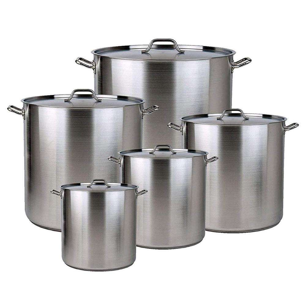 Amazon Hot 5 PK Aluminum Stock Pot With Lid Cover & Steamer Rack Steamer Pot
