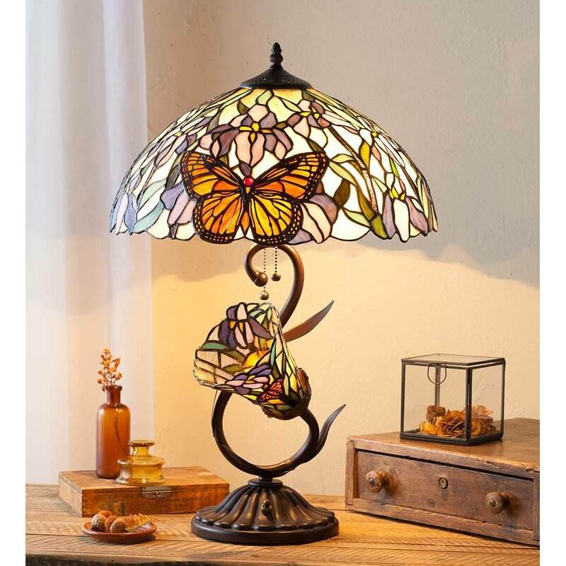 "JLD-8451 Tiffany Stained Glass Butterfly 25"" Table Lamp"