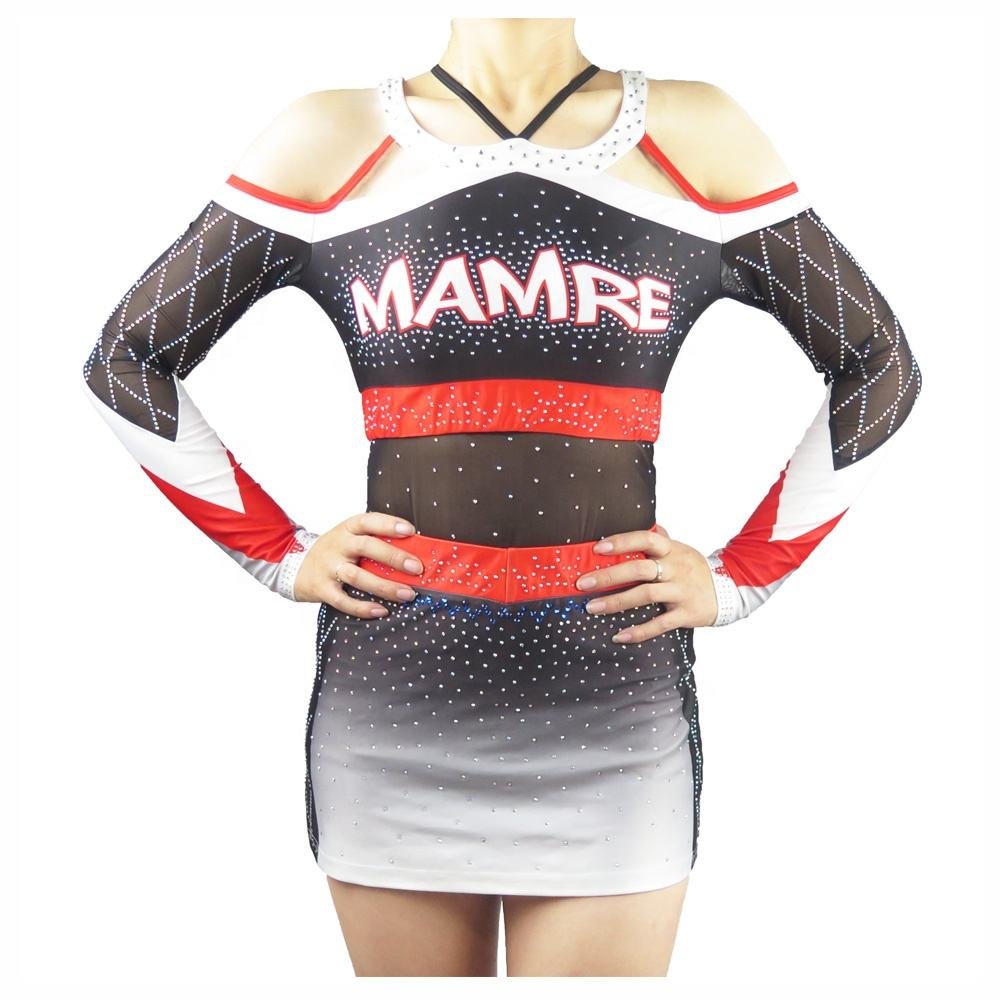 2018 new custom logo sublimation printed cheerleading uniforms with rhinestones for girls all star cheer dance uniforms for kids