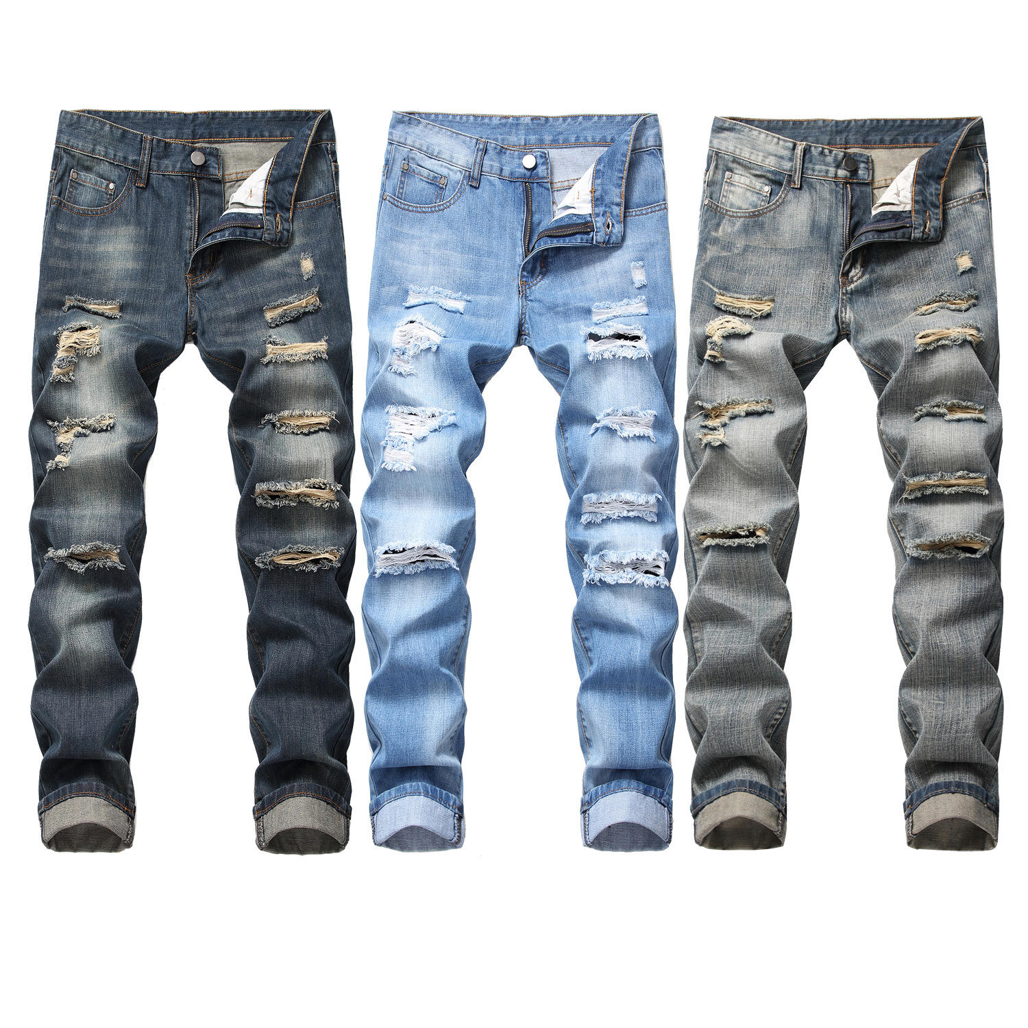 Wholesale Ragged blue biker jeans trousers plus size ripped Destroy jeans wash men jeans denim