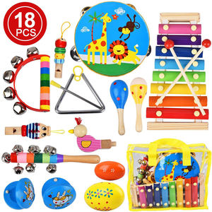 Musical Instruments Toys for Toddler, 18Pcs Kids Musical Wooden Percussion Instruments with Storage Bag, Tambourine, Xylophone,