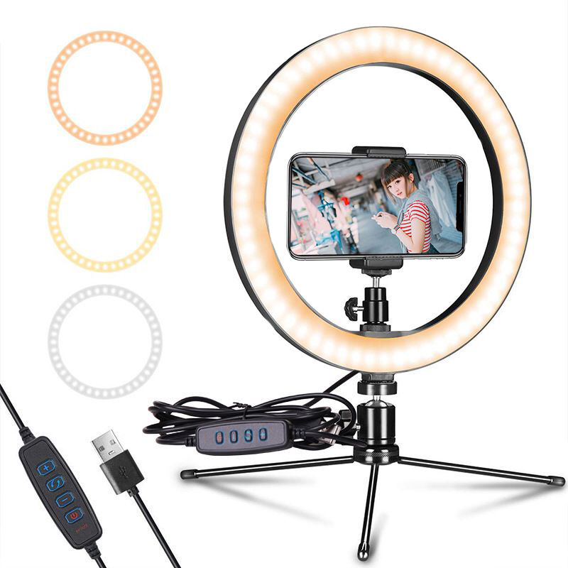 360 Degree Rotation Video Shooting Beauty Fill Light with Tripod Stand for Live Streaming Video Makeup