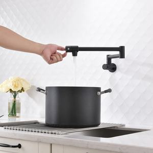 Ciencia Brass Kitchen Pot Filler Folding Faucet Double Joint Swing Arm Sink Faucet Wall Mount Two Handle Matte Black CT166B