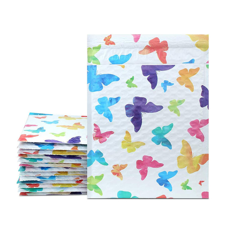 "Strong Self Adhesive Strip Waterproof Custom 6.25"" X 9"" Butterfly Designer Color Printed Co Extruded Poly Bubble Mailer"