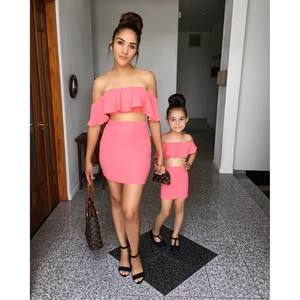 Hot sale solid color sleeveless ruffled parent-child suit mom and daughter matching clothes mom and me dress clothes