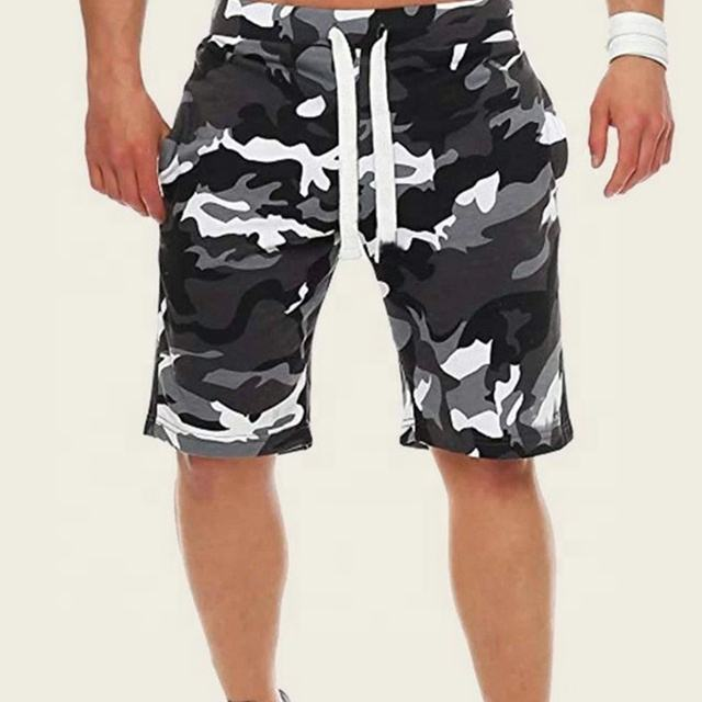 Wholesale Custom 200gsm Street Style Camo Print Drawstring Waist With Pockets Shorts Men