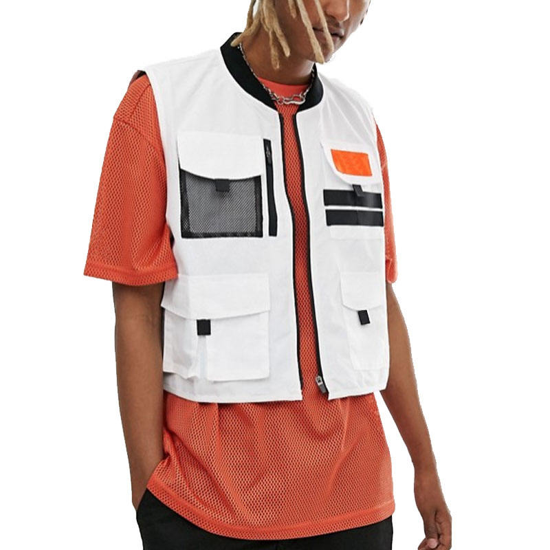 OEM Service Wholesale Men's Casual Cropped Utility Style Pockets Baseball Collar Vest In White