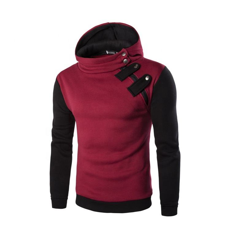 2020 Mens Fashion Zipper Front Color Block Long Sleeve Hoodie Jacket Coat Outwear
