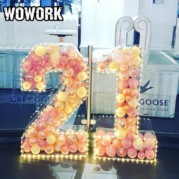 WOWORK 2021 3d wedding decoration display transparent acrylic plastic hollow balloon letters number for festival party supplies
