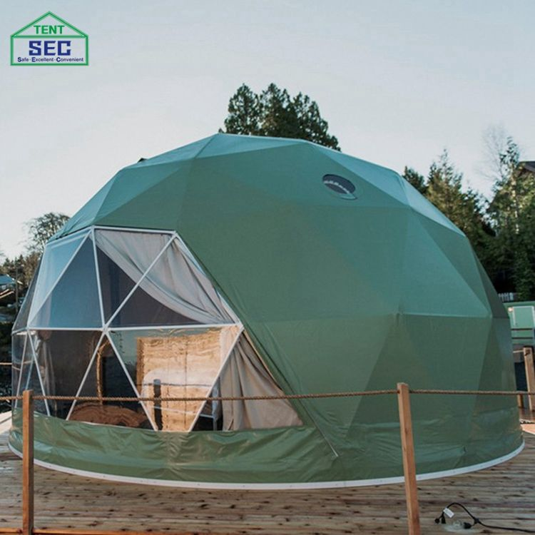 Green Pvc Eco Soundproof Dome Resort Geodesic Dome Tent