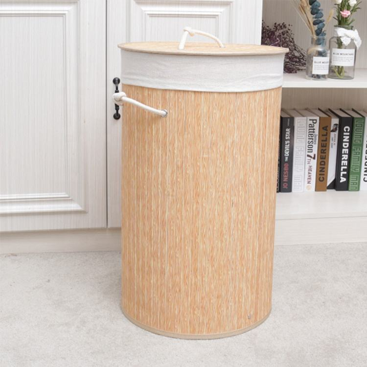 Cylindrical bamboo home using foldable reusable northern europe pure wood color basket laundry