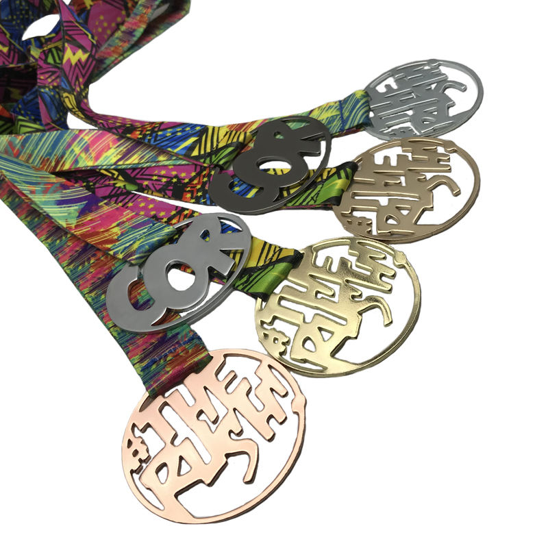 Chinese Supplier Offer Unique Gold / steel / Brass/ Metal Medal With Lanyard running medal