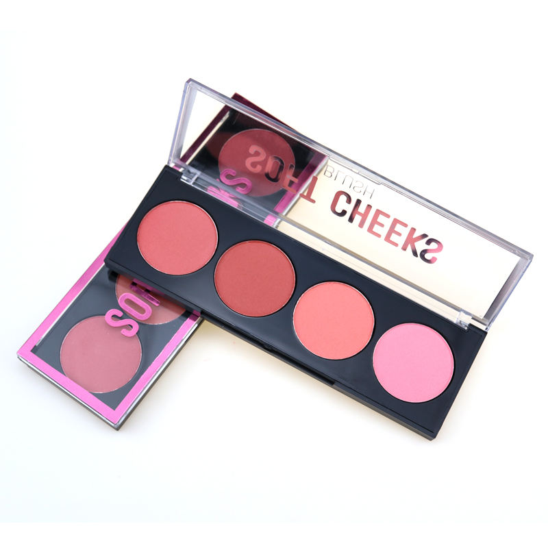 Professional 4 color Makeup Blush Palette Private Label Waterproof Pigmented Shimmer Blusher