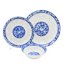 Wholesale Restaurant Hotel elegance Fine Pottery Ceramic Porcelain Dinner Blue And White Dinner Plates Dinnerware Sets