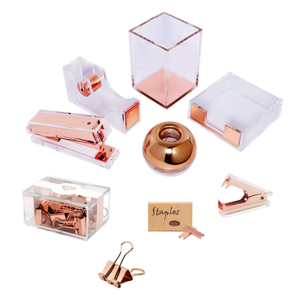 Office Gift Set Acrylic Rose Gold Desk Organizer Accessories Kit