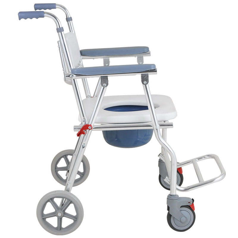 Accessible Transport Toilet Wheelchair with Commode, Aluminum Waterproof Portable Bathroom Wheel Chair with Sturdy Frame