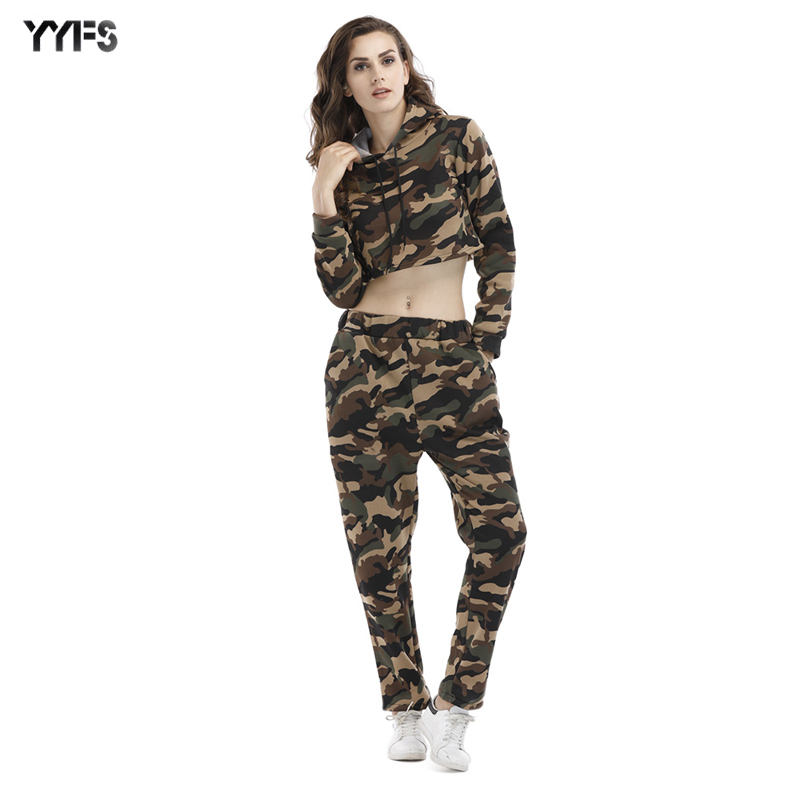 Women 2 piece set clothing long sleeve camouflage cropped top sportswear hoodies
