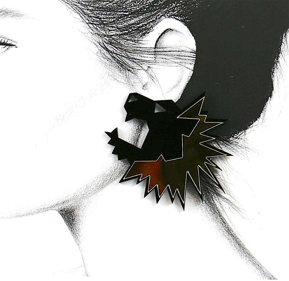 New Product Cheap Fashion Vacation Plastic Acrylic Black and Gold Animal Earrings For Ladies