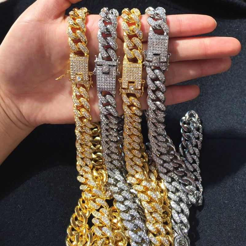personalize Gold Chain Design HipHop Iced Out Crystal Miami Cuban Chain Sterling Silver 925 Chain Jewelry For Men