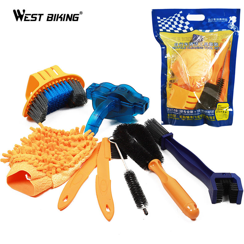 WEST BIKING Bike Tool Cleaning Brush Gear Free Wheel Brush Cleaner Outdoor Motorcycle Bicycle Chain Clean Tools set kit
