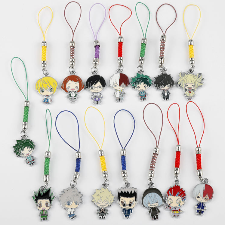 My Hero Academia Japanese anime figures bakugo katsuki OCHACO URARAKA metal enamel mobile cell phone charm accessories keychain
