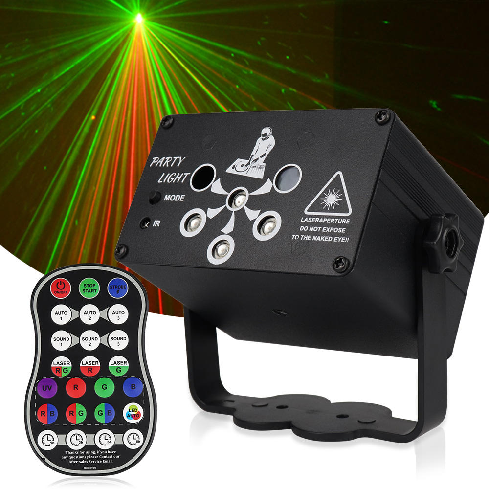 Mini Laser Light Projector, 8W Lazer Light DJ Disco Party Beam Lights with Remote Control