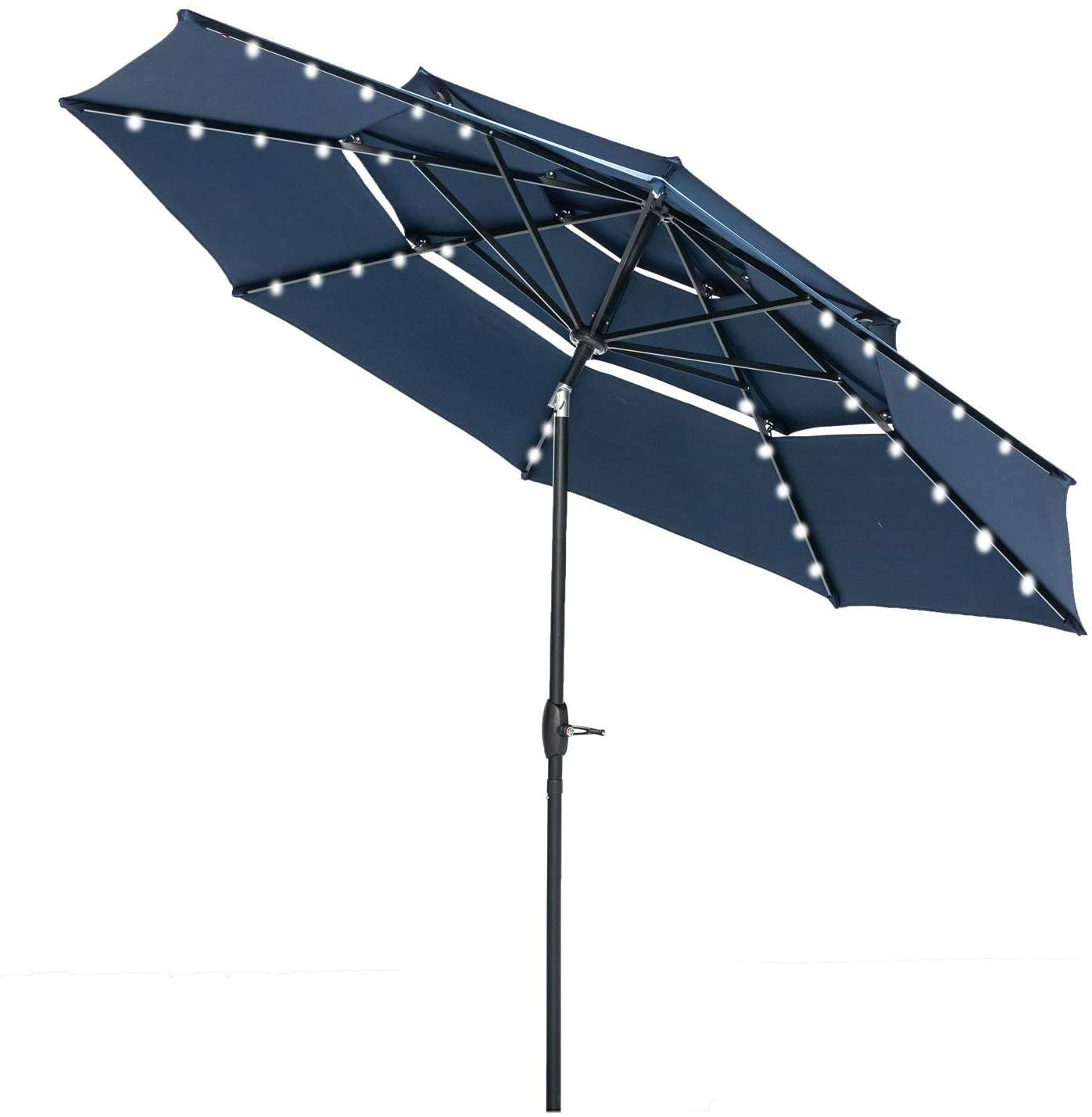 Custom Blue Outdoor 3-Tiers Patio Table LED licht sonnenschirm Umbrella mit Solar Power Lights