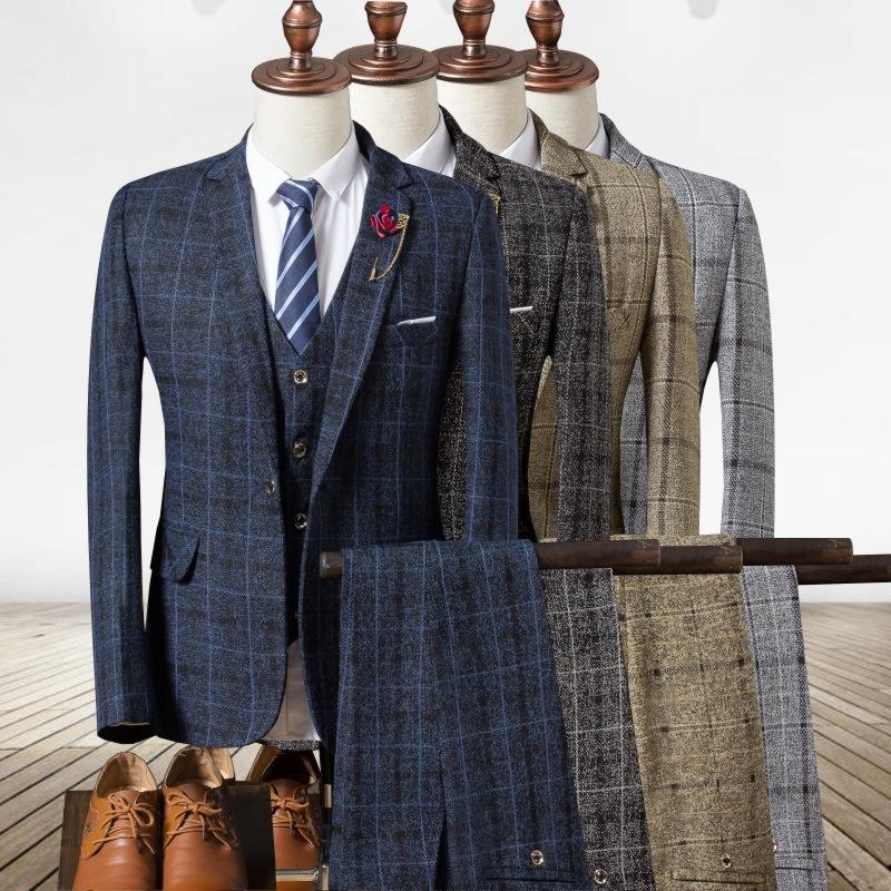 High Quality In Stock Plaid Ready To Ship Mens Suits 3ピースSlim Fit