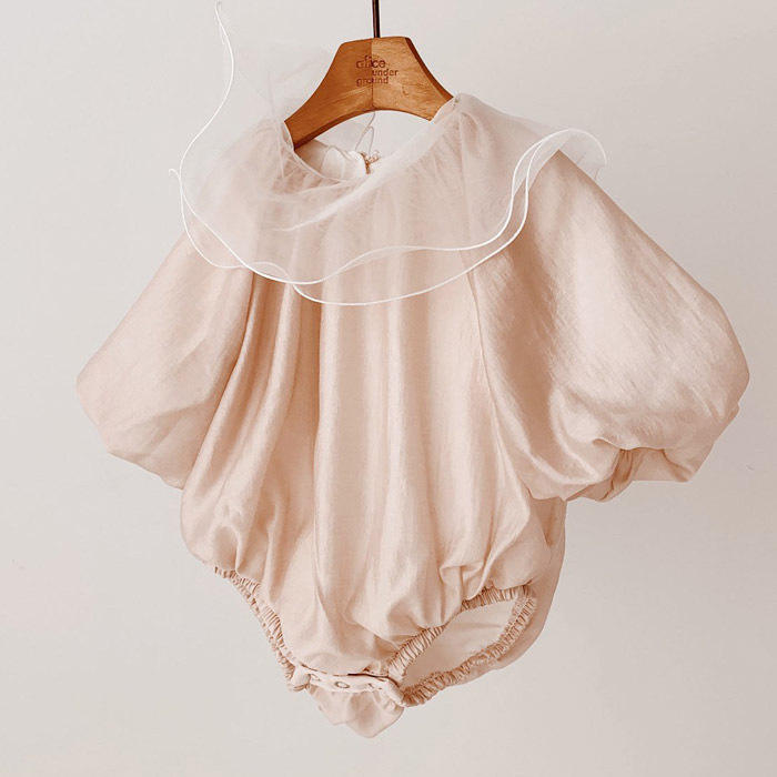 korean infant baby girl lotus leaf collar climb rompers toddler kids flare sleeve bodysuit