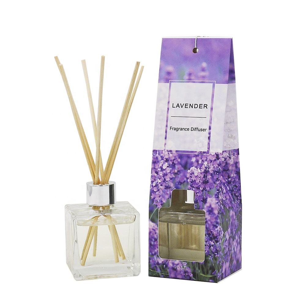 Wholesale High Quality Elegant Home Decoration 70ml Glass Bottle Reed Diffuser With Natural Sticks for Gift Set-Lavender