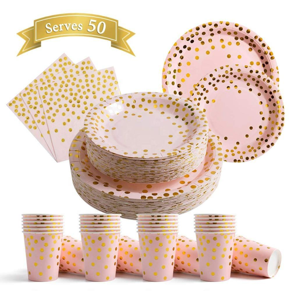 MyMoonPie rose gold dot disposable paper napkin cup tableware party paper plate set