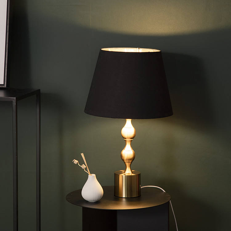 Nordic creative metal base design high-end black cotton lampshade 10 inch bedroom bedside warm table lamp