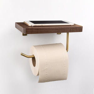 Creative mobile phone rack roll paper holder solid wood free punching toilet storage paper towel holder brass paper holder