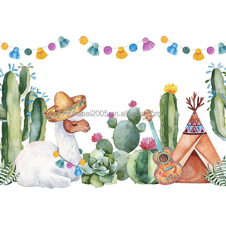Mexico Festival Birthday Party Photocall Camel Cactus Guitar Baby Shower Background Party Banner Decorations Prince Birthday