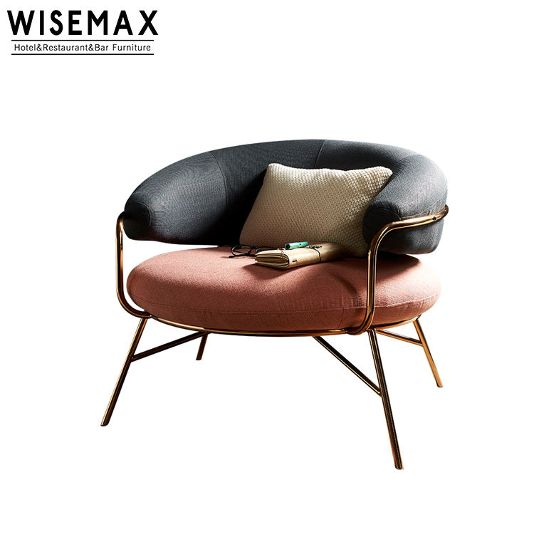 Luxury Modern Gold Metal Leg Fabric Accent Chair Pink Velvet Single Seat Fabric Living Room Lounge Sofa Chair