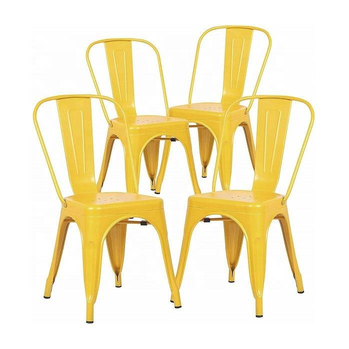 hot sell iron chair metal frame banquet dining chair tolixs side chairs -Yellow