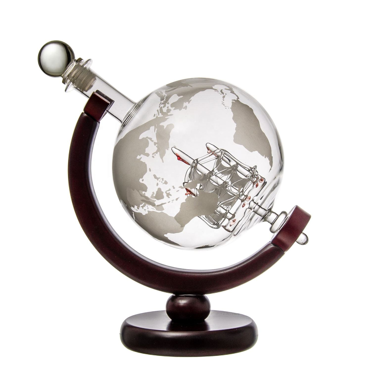 China Supplier Wholesale New Design Unique Shape Globe Glass Decanter Set With Wood Base Wine Decanter