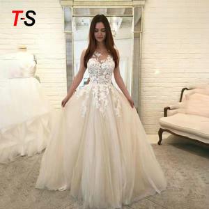 Pretty Long Lace Wedding Dress Plus Size wedding Gown