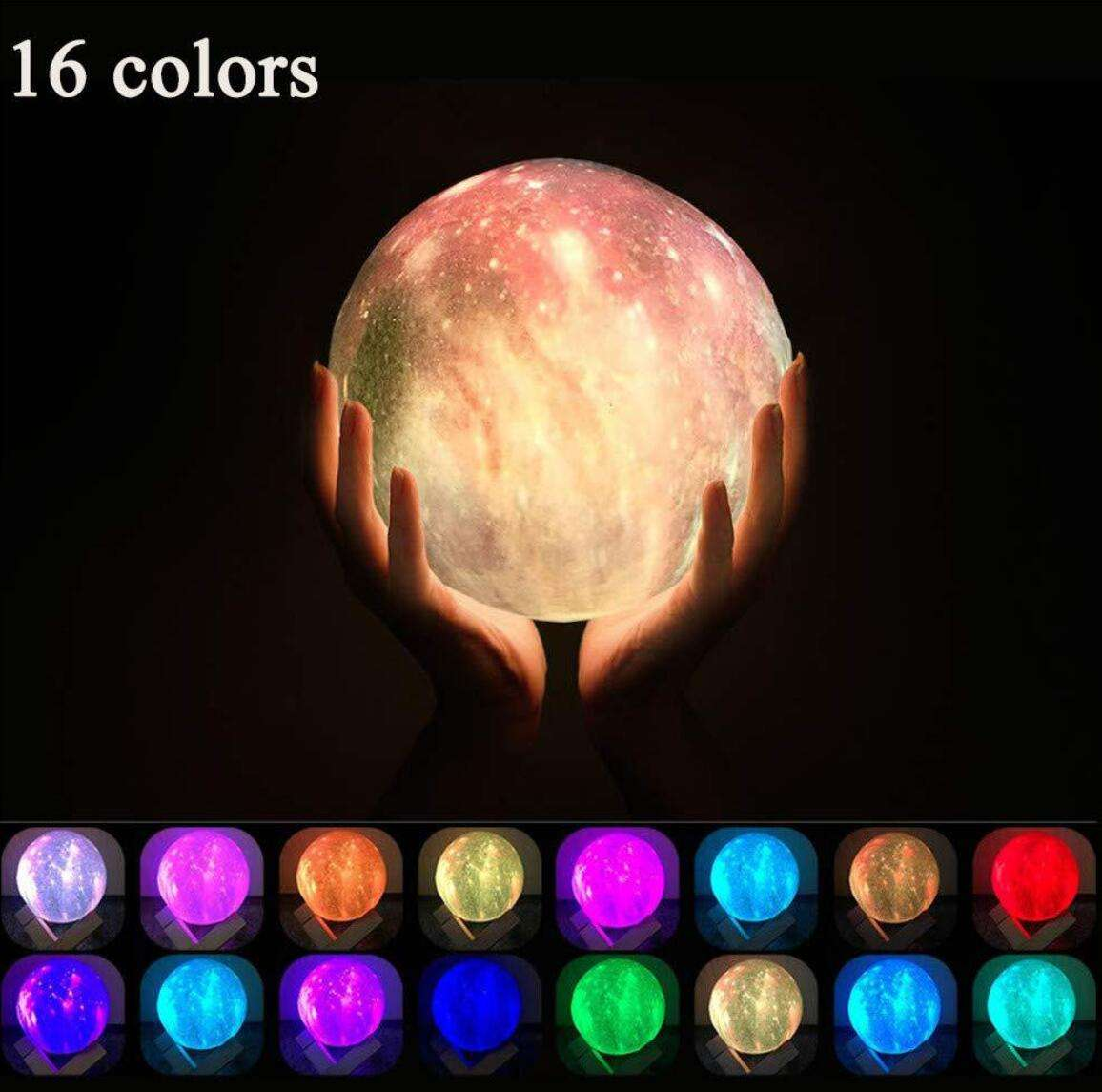 2020 8cm PLA Galaxy Moon Lamp with Galaxy Starry Night Light 16 color and Remote controller